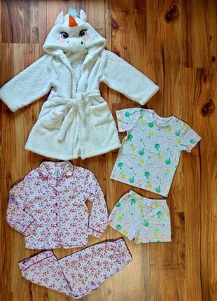 Халат, байковая пижама и комплект на девочку 4-5 лет одним лотом