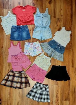 Пакет одежды на девочку 5-6 лет одним лотом юбки шорты майки ромпер