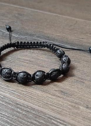Браслет из натурального камня,  браслет чёрный,  шамбала,  браслет из лавы
