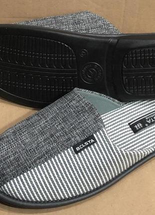 Тапочки белста джинс-полоска серые