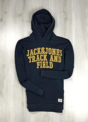 F8 худи темно-синее темное jack&jones кофта с капюшоном толстовка