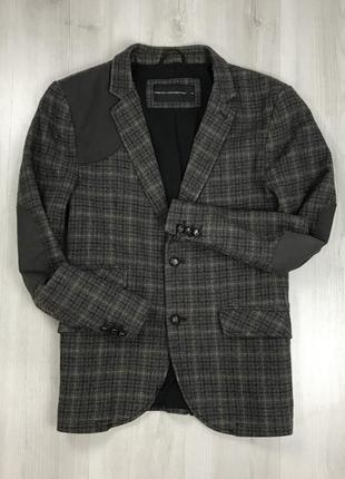 F0 пиджак приталенный темно-серый коричневый в клетку клетчатый french connection
