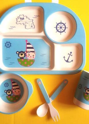 """Бамбуковий набір посуду 5в1 """" чарівний мореплавець"""""""