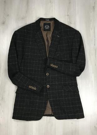 F0 пиджак темно-серый клетчатый в клетку темный с нашивками на локтях xposed