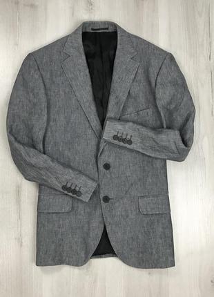 F0 пиджак приталенный темно-серый льняной aquascutum