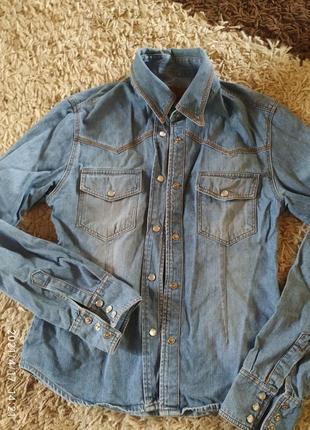 Рубашка джинсовая голубая