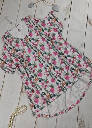 Платье туника трикотажное плотное в принт цветочный uk 26-28
