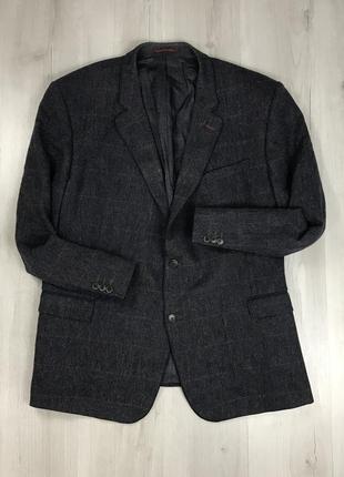 F0 пиджак темный темно-синий шерстяной клетчатый в клетку santinelli серый костюм