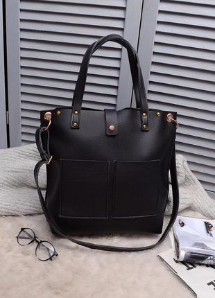 Стильный шоппер, сумка-шоппер, черная сумка на длинной ручке, украина, а4 поместится!