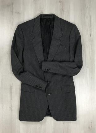 F0 пиджак приталенный темно-серый шерстяной полосатый в полоску темный austin reed
