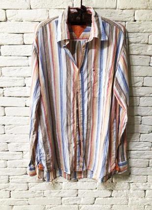 Льняная мужская рубашка в полоску  от tommy hilfiger