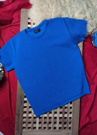 Мужской синий свитер/джемпер с коротким рукавом (s)