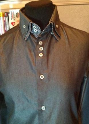 Шикарнейшая, натуральная рубашка бренда next, р. 44-46