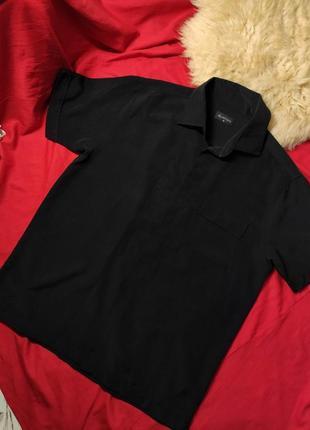 Мужская черная рубашка в клетку (м)