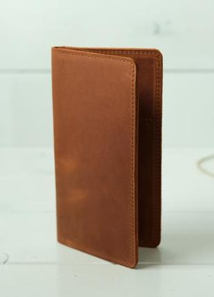 Жіночий шкіряний гаманець, гаманець клатч, гаманець лонг, шкіра crazy horse, колір коньяк