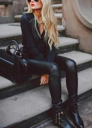 Новые черные кожаные брюки, штаны, лосины эко кожа от pieces