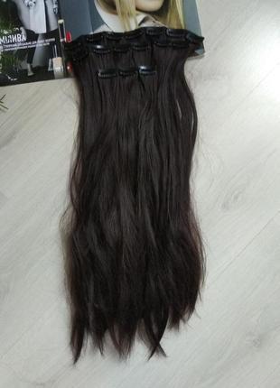 Волосы трессы тресы на заколках под натуральный цвет шиньон