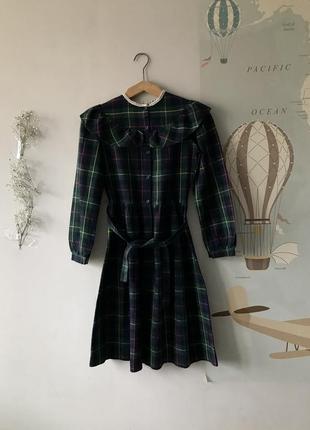 Тренд сезона,винтажное платье с поясом в клетку,100% шерсть