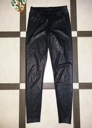Лосины черные полиэстер под кожу zebra р.s-м(8-10)