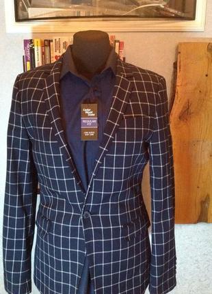 Приталенный пиджак в клетку на одну пуговицу бренда asos, р. 44-46