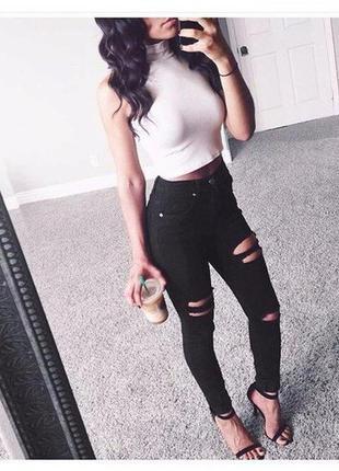 Черные рваные джинсы скини с высокой посадкой
