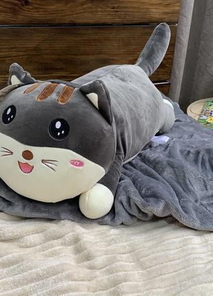 Игрушка - плед подушка - серый кот
