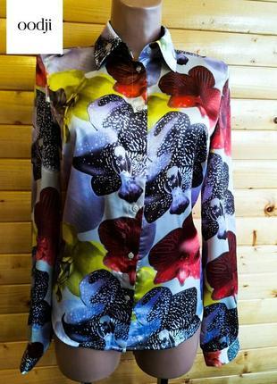 Романтичная яркая блузка в красивый принт крупных цветов oodji, коллекционный вариант.