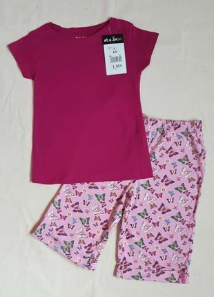 Комплект футболка и кюлоты малиновый бабочки topolino германия на 6 лет (116см)
