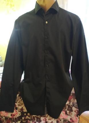 Рубашка черная рубашка приталенная