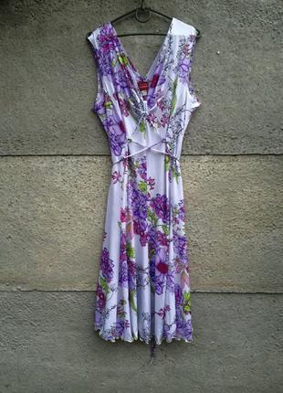 Летний стильный сарафан, платье миди с цветочным принтом.