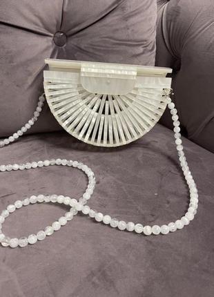 Сумка плетенка бисер пластик жемчуг cult gaia