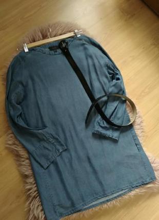 Стильное джинсовое короткое платье туника