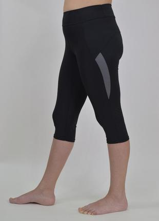Жіночі спортивні бриджі великі розміри чорні з кольоровими вставками