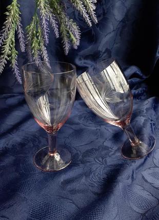 Бокалы для вина стрела ссср советские марганцевое аметистовое стекло алмазная грань