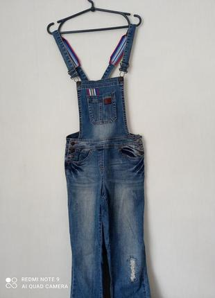 Стильный оригинальный джинсовый комбинезон