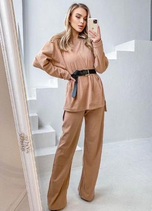 Трендовый костюм с поясом и широкими брюками штанами палаццо оверсайз