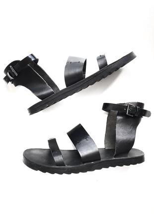 Черные кожаные сандалии acne