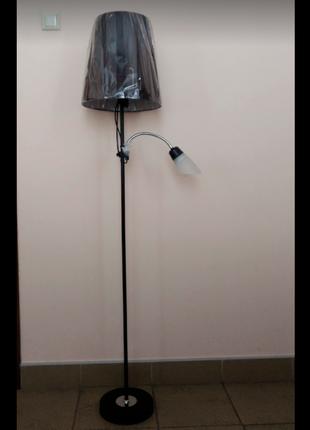 Торшер с текстильным абажуром и нижней подсветкой