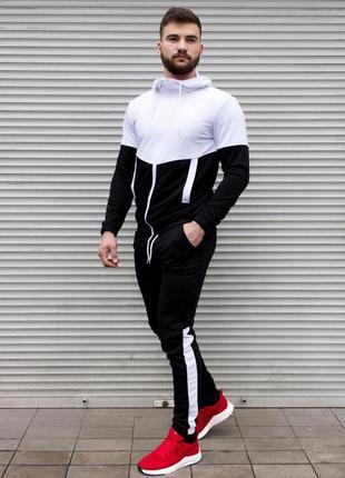 Cпортивный двухцветный мужской костюм черно-белый