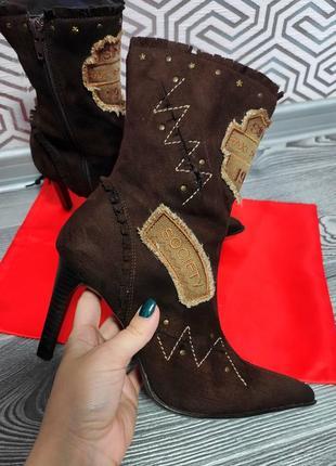 Сапоги ботинки шпильке винтажные натуральная замша  острый носок в