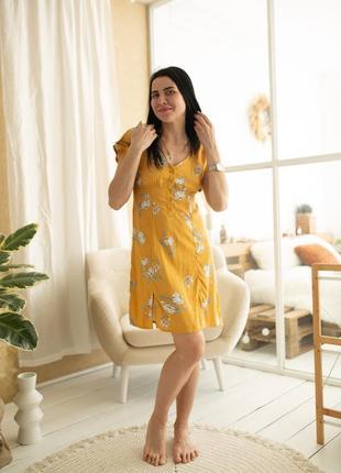 Вискозное платье в цветочек
