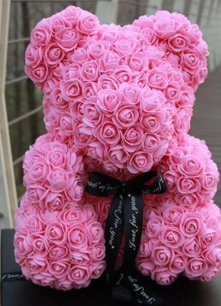 Рожевий ведмедик з троянд 40 см