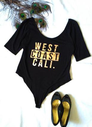 Боди черное с надписью west coast call  uk 16 18