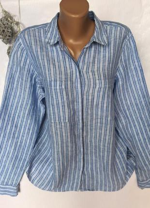 Стильная трендовая рубашка в полоску , лен 100%
