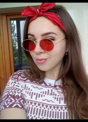 Красные овальные очки, унисекс ❤️