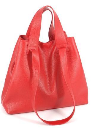 Кожаная вместительная красная сумка-трансформер, цвета в ассортименте