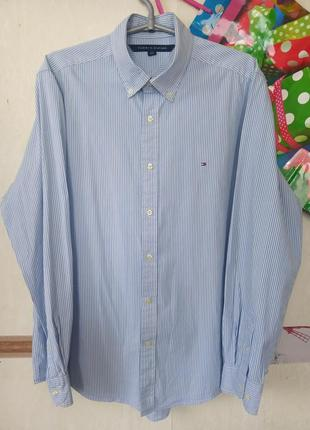 1+1=3 базовая рубашка в полоску р.l tommy hilfiger