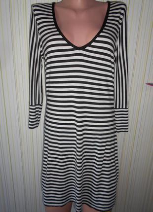 #платье трикотажное из вискозы # bay#стильное платье в полоску #