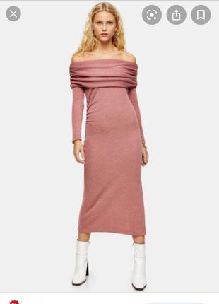 Topshop платье миди сукня нюдовое платье