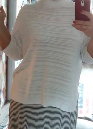 Білосніжний модний тонкий светрик, фактурний джемпер